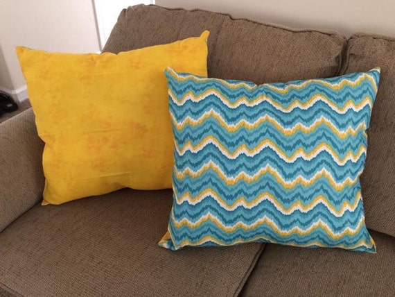Etsy Teal Throw Pillow : Items similar to Teal and yellow throw pillows on Etsy
