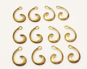 Swirl Brass Pendants Made in USA, Vintage Stamping, Jewelry Components(FDS-109)