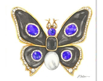 Butterfly Brooch Watercolor Rendering in Yellow Gold with Black Onyx, Tanzanites, Diamonds, and Pearl printed on Canvas