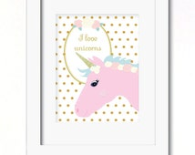 A4 I love unicorns print