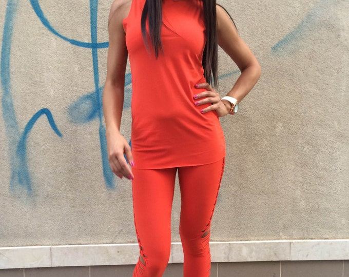 New Sport Orange Set Of 2 Parts, Workout Long Leggings, Women's Handmade Tank Top, Yoga Sport Set by SSDfashion