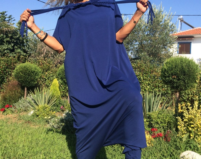 Blue Extravagant Loose Jumpsuit, Plus Size Jumpsuit, Overall Maxi Jumpsuit, Sleeveless Cotton Jumpsuit by SSDfashion