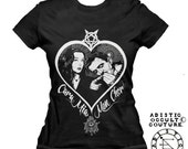 Morticia and Gomez Addams ,addams family inspired female cut t- shirt