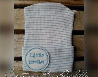 Newborn Hospital Hat- Blue/White Stripes- Little Brother