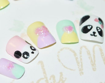 Japanese kawaii 3D nail art false nail, fake nails, tsum tsum, cute panda, pastel multicolore, 3D hearts, lolita accessory, fairykei