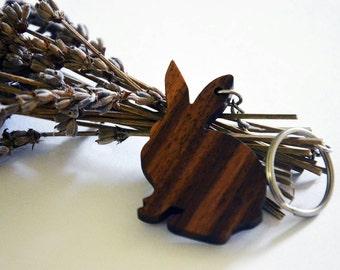 Wooden Bunny Keychain, Walnut Wood, Animal Rabbit Keychain, Environmental Friendly Green materials