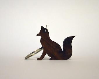 Wooden Fox Keychain, Walnut Wood, Animal Keychain, Environmental Friendly Green materials