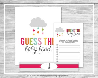 Rainbow Showers Baby Shower Guess The Baby Food Game - Printable Baby Shower Guess The Baby Food Game - Rainbow Baby Shower - SP100
