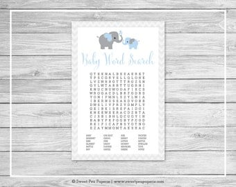 Elephant Baby Shower Baby Word Search Game - Printable Baby Shower Baby Word Search Game - Blue and Gray Elephant Baby Shower - SP102