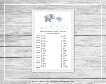 Elephant Baby Shower Name That Baby Game - Printable Baby Shower Name That Baby Game - Blue and Gray Elephant Baby Shower - SP102