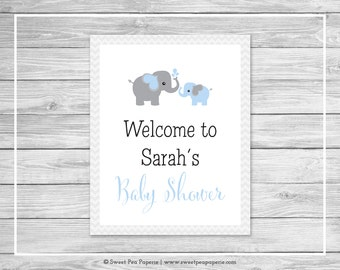 Elephant Baby Shower Welcome Sign - Printable Baby Shower Welcome Sign - Blue and Gray Elephant Baby Shower - EDITABLE - SP102