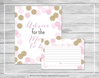 Pink and Gold Baby Shower Advice for Mom Cards - Printable Baby Shower Advice for Mom Cards - Pink and Gold Glitter Baby Shower - SP106