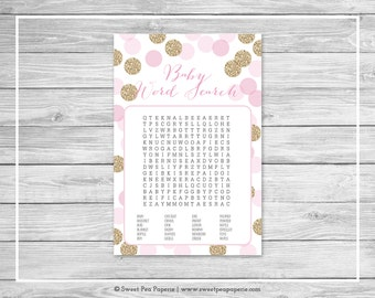 Pink and Gold Baby Shower Baby Word Search Game - Printable Baby Shower Baby Word Search Game - Pink and Gold Glitter Baby Shower - SP106