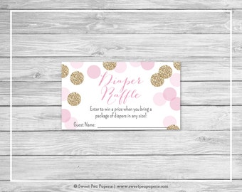 Pink and Gold Baby Shower Diaper Raffle Insert - Printable Baby Shower Diaper Raffle Cards - Pink and Gold Glitter Baby Shower - SP106