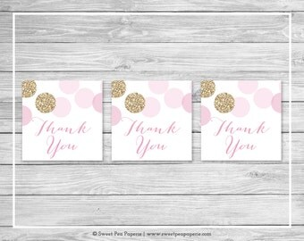 Pink and Gold Baby Shower Favor Thank You Tags - Printable Baby Shower Thank You Tags - Pink and Glitter Baby Shower - Favor Tags - SP106