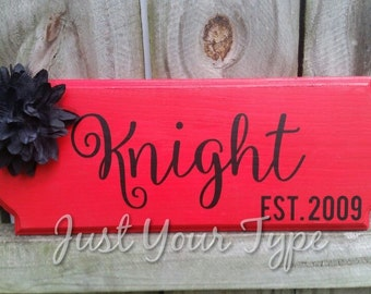 Wooden Monogrammed Name Plaque with Established Date