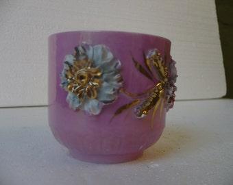 Pink Lusterware Mustache Cup