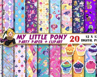 My Little Pony digital paper, My Little Pony clipart, pony party, pony birthday, Pinkie Pie, invitations, Scrapbooking Paper, backgrounds