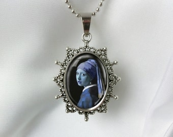 Blue Girl With a Pearl Earring Large Antique Silver Art Pendant Necklace Jewelry