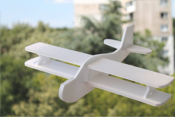 Airplane toy Biplanes Gift for a boy Garden party favor Birthday decorations Handmade air plane DIY Painting toy Aeroplane Handcrafted plane