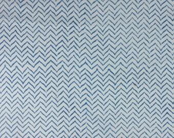 5 Yards Hand Block Printed Fabric: Blue, Orange, Sky Blue