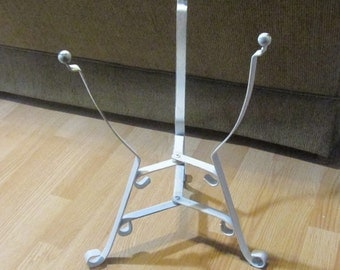 Lovey, Wrought Iron Plant Stand, Distressed, White, Cottage Chic, Beach Cottage, Indoor, Outdoor,