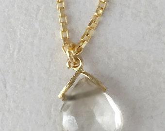 Gemstone and Gold. Quartz. Gold Gemstone necklace. Moss quartz Gold Vermeil necklace. Women's necklace. Dainty. Gift her.