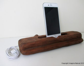 Reclaimed Tsunami Wood Phone Dock Stand Wooden Phone Docking Station Rauli Reclaimed Wood iPhone Dock Cell Phone Cable holder Iphone 3 4 5 6