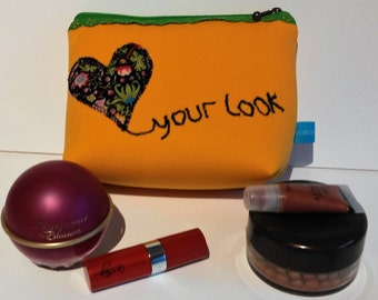 Applique cosmetic / make up bag