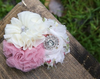 cream and dusty pink shabby chic flower clip headband
