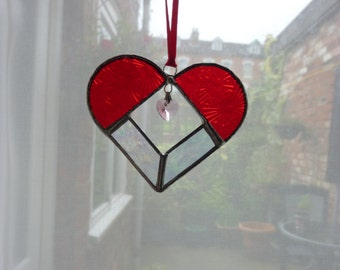 Red heart with crystal
