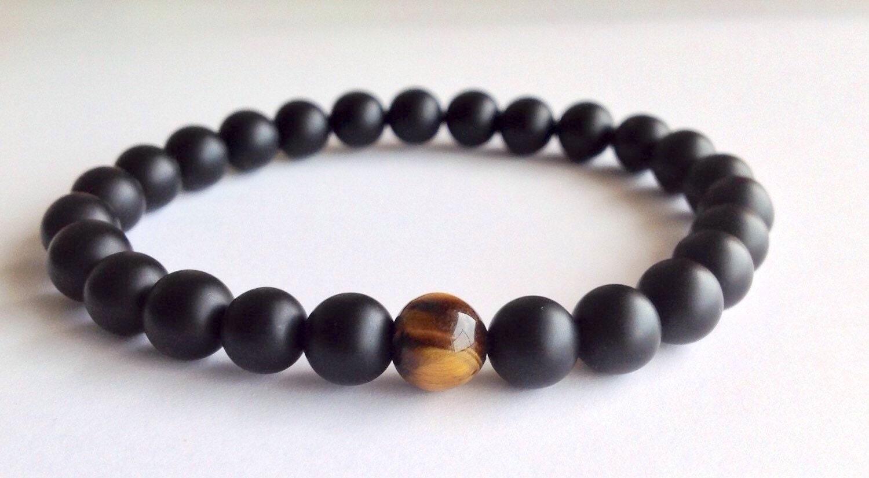 mens matte black onyx tiger eye bracelet by