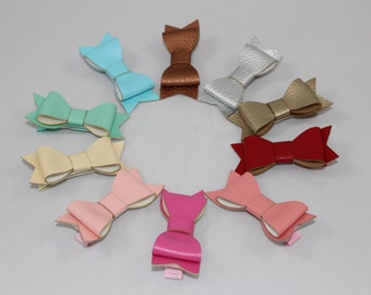 Darling Leather Bow Clips! Pink, Red, Gold, Bronze, Silver, Blue, Green, Cream
