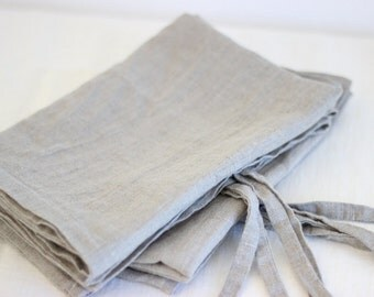 Set of 2 washed linen pillow cases, natural gray linen, pillow cover, 100% linen