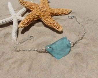 blue sea glass silver chain bracelet, bohemian bracelet