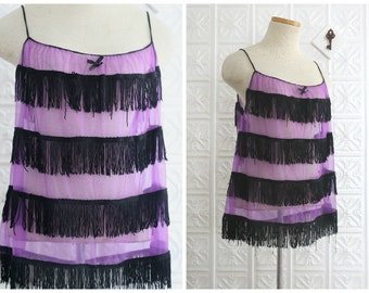 Sheer Purple Spaghetti Strap Camisole Tank Top with Black Fringe Stripes & Tiny Ribbon Bow Detail - Vintage Exotique