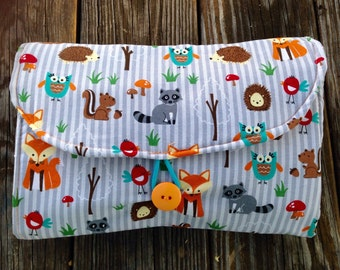 Baby Diaper Changing Pad Clutch, Woodland Animal Print. Grab and Go