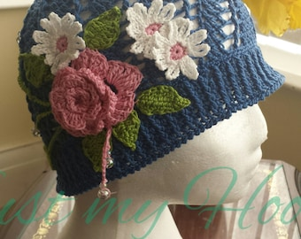 Flowery Crochet Summer Hats