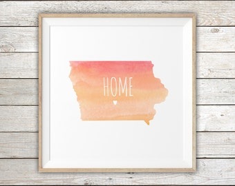 STATE OF IOWA & Home Town Love Watercolor Map Print - Custom / Personalized Art Print