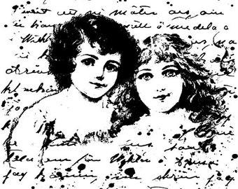 EZ Mounted Rubber Stamp Edwardian 1900s Girls Dolls Background Writing Altered Art Craft Scrapbooking Cardmaking Collage Supply.