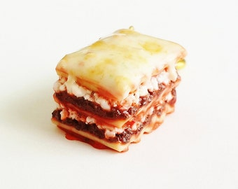 Handmade Lasagna Charm or Keychain - Polymer Clay Food Lasagna Pasta - Miniature Food Jewelry -Miniature Italian Food -  Lasagna Keychain