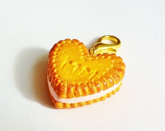 Handmade Butter Biscuit Charm with Initials - Polymer Clay Cookie Charm - Miniature Food Jewelry BFF Charm - Valentine Food Jewelry