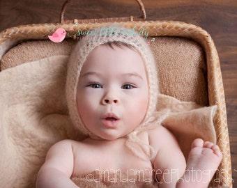 Newborn Baby bonnet Crochet Newborn Bonnet, Mohair Silk Newborn Bonnet, Crochet Bonnet, Photo prop Bonnet, Baby Bonnet Newborn Hat, Baby Hat