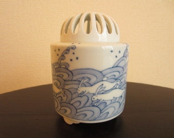 Japanese Blue and White Porcelain Incense Burner made by a Holder of Intangible Cultural Property in 1990s