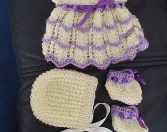 Hand knitted Dolls Dress set