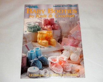 Baby Booties to Knit & Crochet 12 Designs 1995 by Leisure Arts Vintage Leaflet
