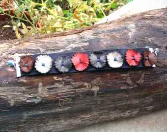 Small Flower Leather Bracelet
