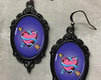Glass Cameo Gothic Rockabilly Earrings - Pink Heart Tattoo - Rockabilly Jewellery