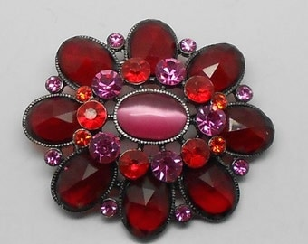 PRICE REDUCED! Vintage Deep Red and Pink Rhinestone with Pink Moonglow Flower Brooch--open back