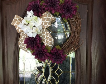 Fall purple and white floral twig wreath.  Spring/Summer/Fall wreath